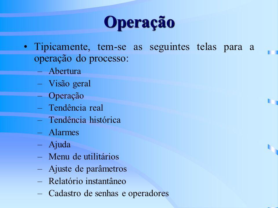Operação Tipicamente, tem-se as seguintes telas para a operação do processo: Abertura. Visão geral.