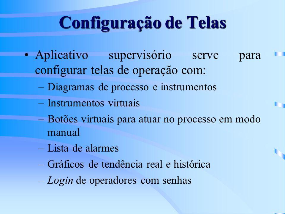 Configuração de Telas Aplicativo supervisório serve para configurar telas de operação com: Diagramas de processo e instrumentos.