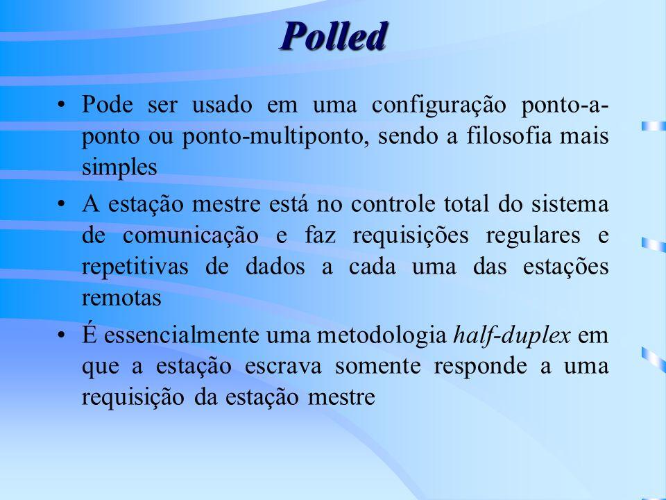 Polled Pode ser usado em uma configuração ponto-a-ponto ou ponto-multiponto, sendo a filosofia mais simples.