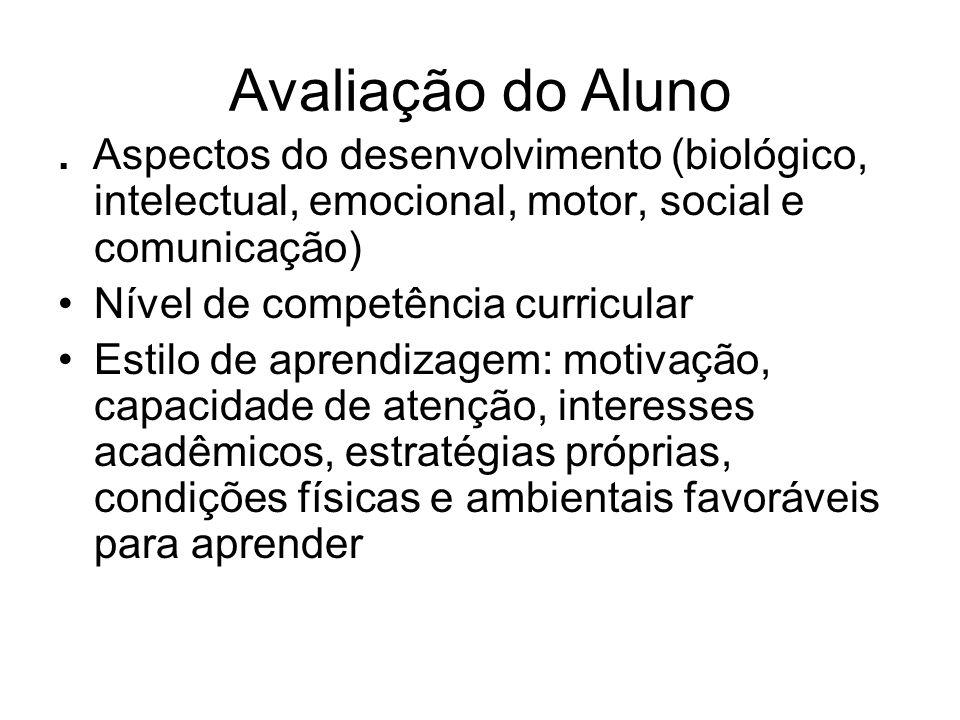 Avaliação do Aluno . Aspectos do desenvolvimento (biológico, intelectual, emocional, motor, social e comunicação)