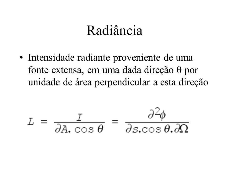 Radiância Intensidade radiante proveniente de uma fonte extensa, em uma dada direção  por unidade de área perpendicular a esta direção.