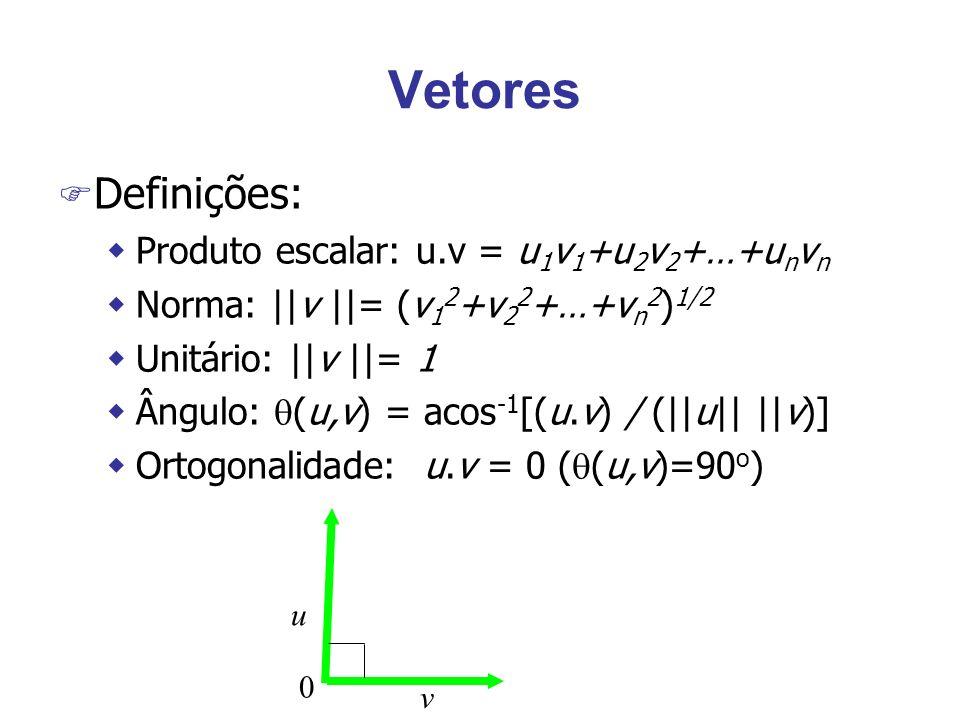 Vetores Definições: Produto escalar: u.v = u1v1+u2v2+…+unvn