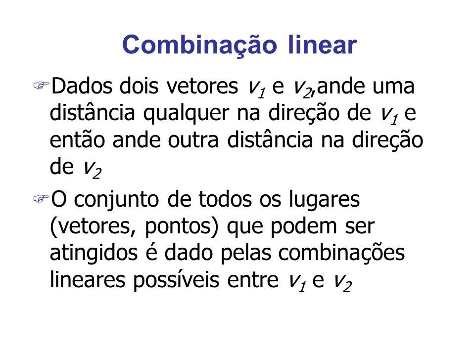 Combinação linear Dados dois vetores v1 e v2,ande uma distância qualquer na direção de v1 e então ande outra distância na direção de v2.