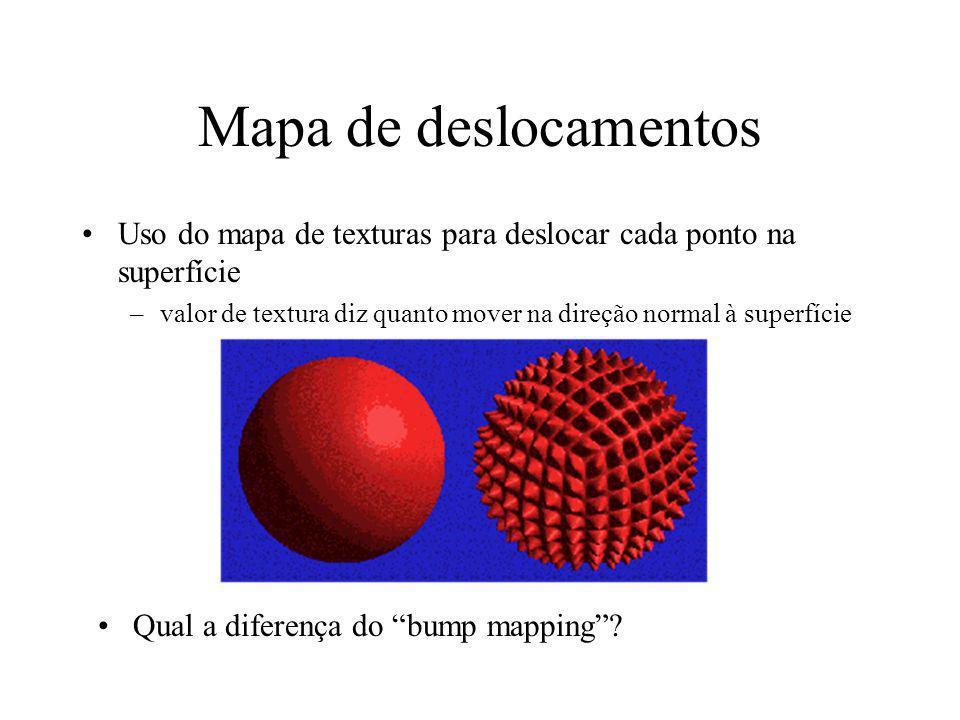 Mapa de deslocamentos Uso do mapa de texturas para deslocar cada ponto na superfície.