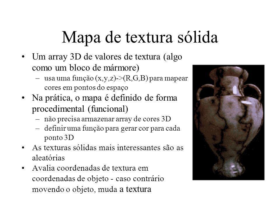 Mapa de textura sólida Um array 3D de valores de textura (algo como um bloco de mármore)