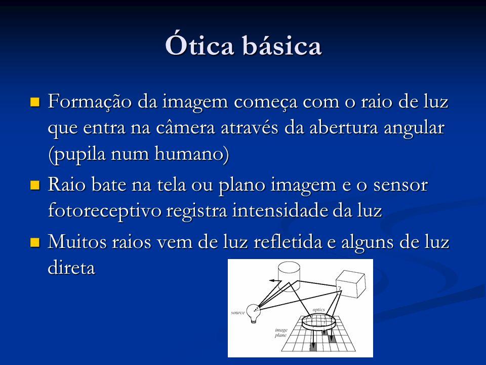 Ótica básica Formação da imagem começa com o raio de luz que entra na câmera através da abertura angular (pupila num humano)