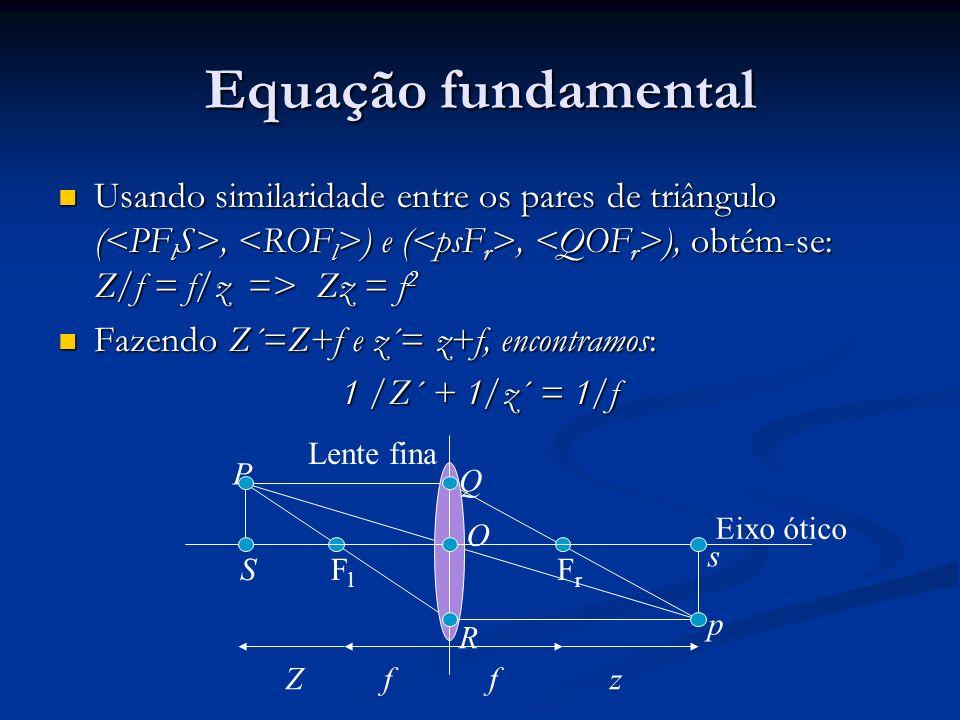 Equação fundamental Usando similaridade entre os pares de triângulo (<PFlS>, <ROFl>) e (<psFr>, <QOFr>), obtém-se: Z/f = f/z => Zz = f2.