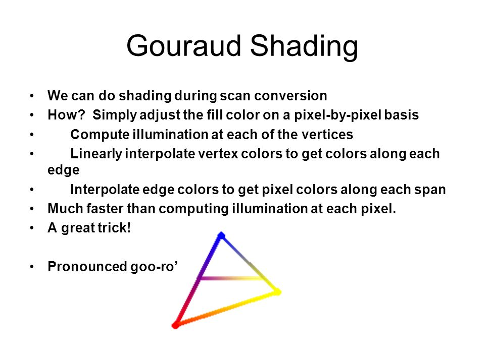 Gouraud Shading We can do shading during scan conversion