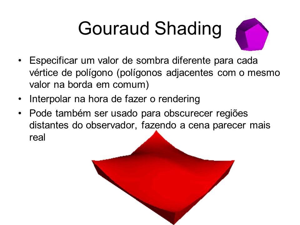 Gouraud Shading Especificar um valor de sombra diferente para cada vértice de polígono (polígonos adjacentes com o mesmo valor na borda em comum)