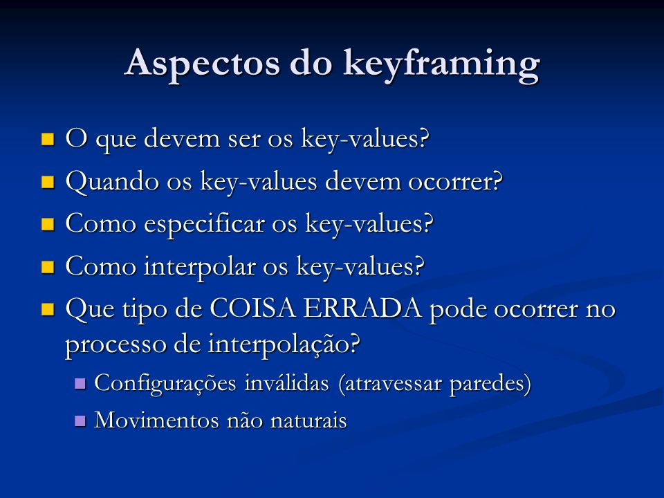 Aspectos do keyframing