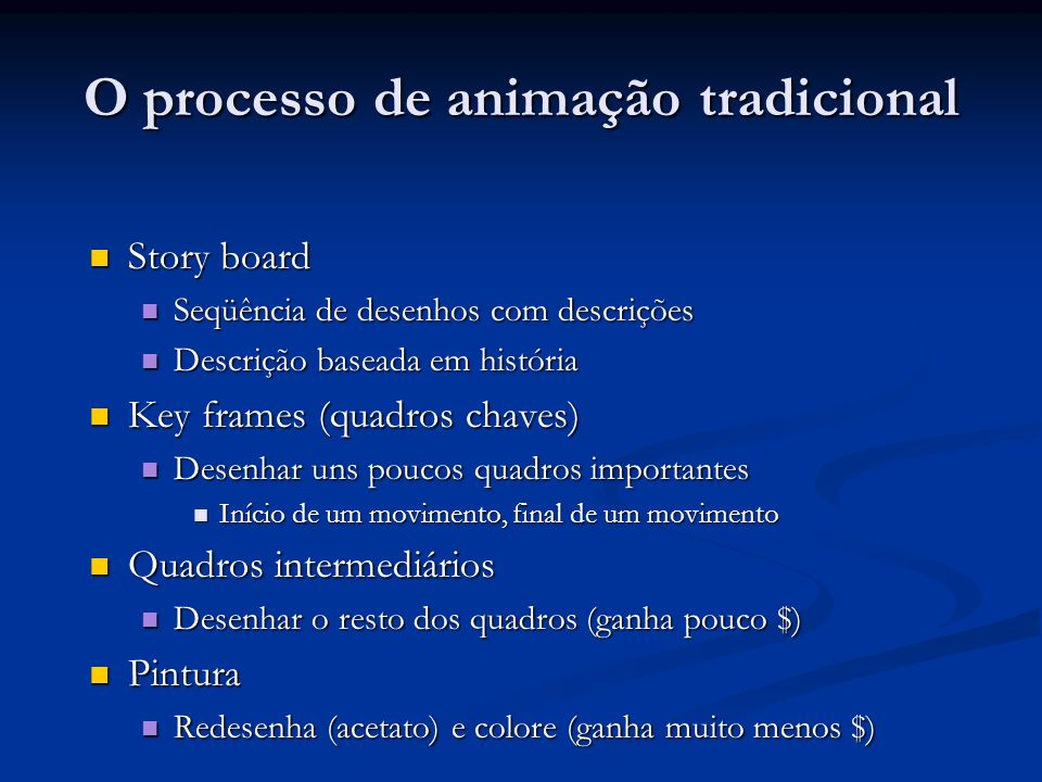 O processo de animação tradicional