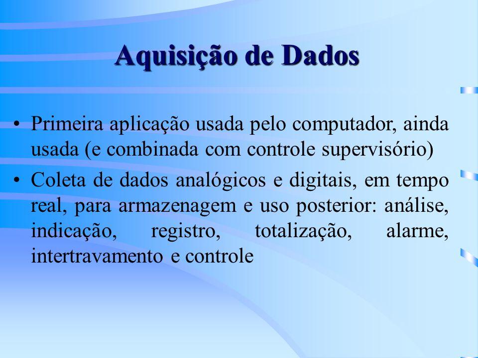 Aquisição de Dados Primeira aplicação usada pelo computador, ainda usada (e combinada com controle supervisório)