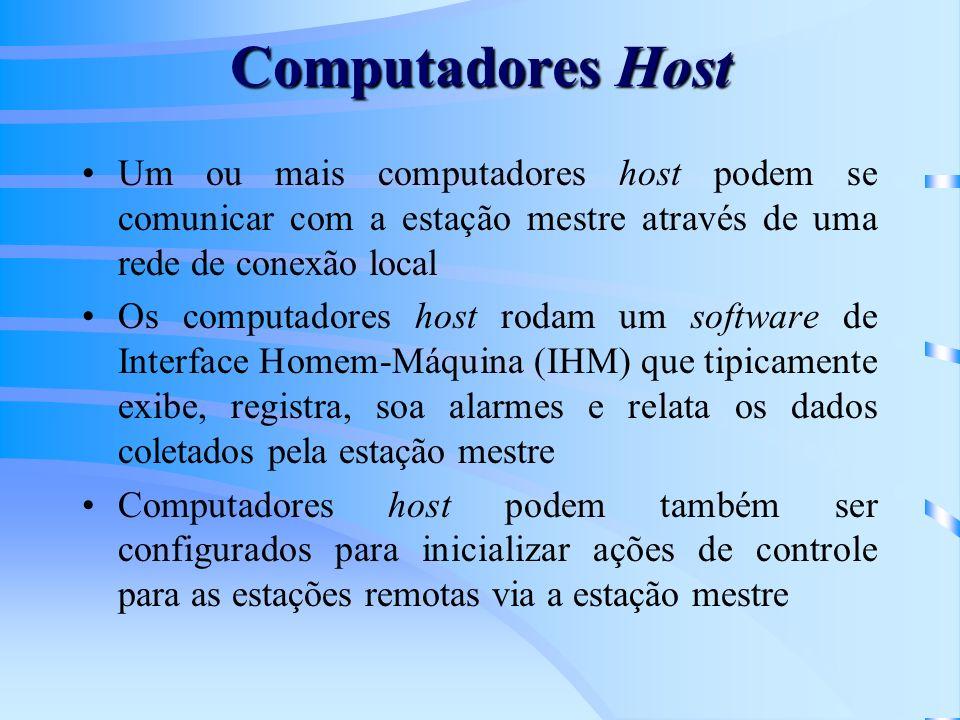 Computadores Host Um ou mais computadores host podem se comunicar com a estação mestre através de uma rede de conexão local.