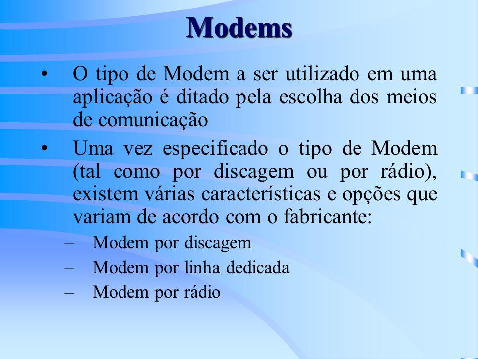Modems O tipo de Modem a ser utilizado em uma aplicação é ditado pela escolha dos meios de comunicação.