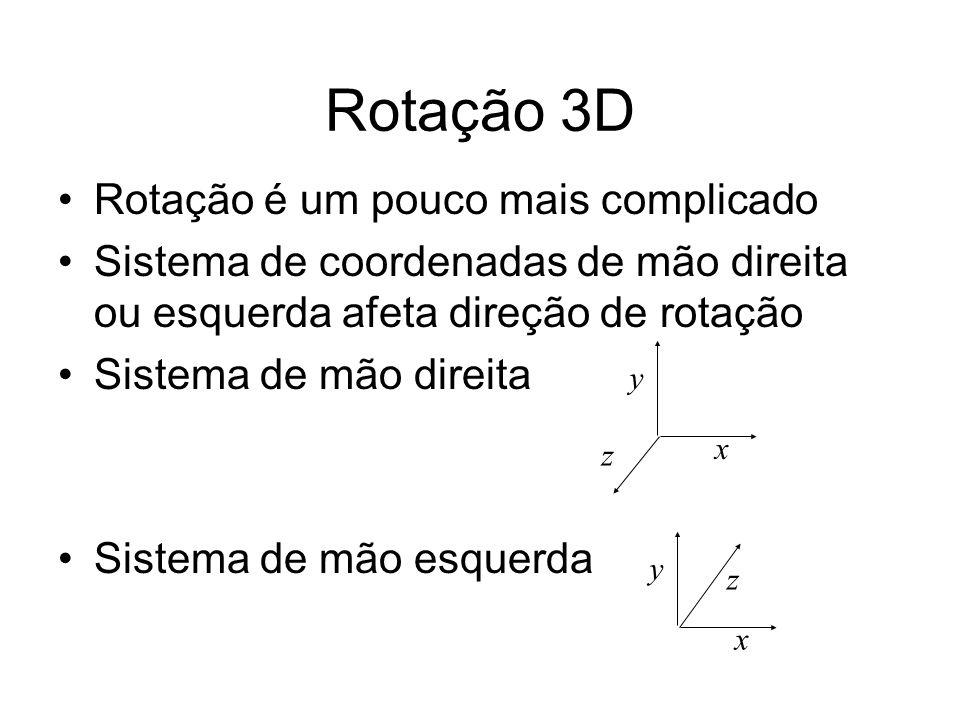 Rotação 3D Rotação é um pouco mais complicado