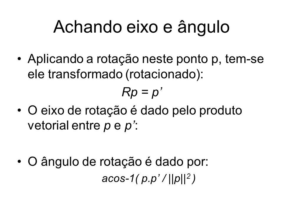 Achando eixo e ângulo Aplicando a rotação neste ponto p, tem-se ele transformado (rotacionado): Rp = p'