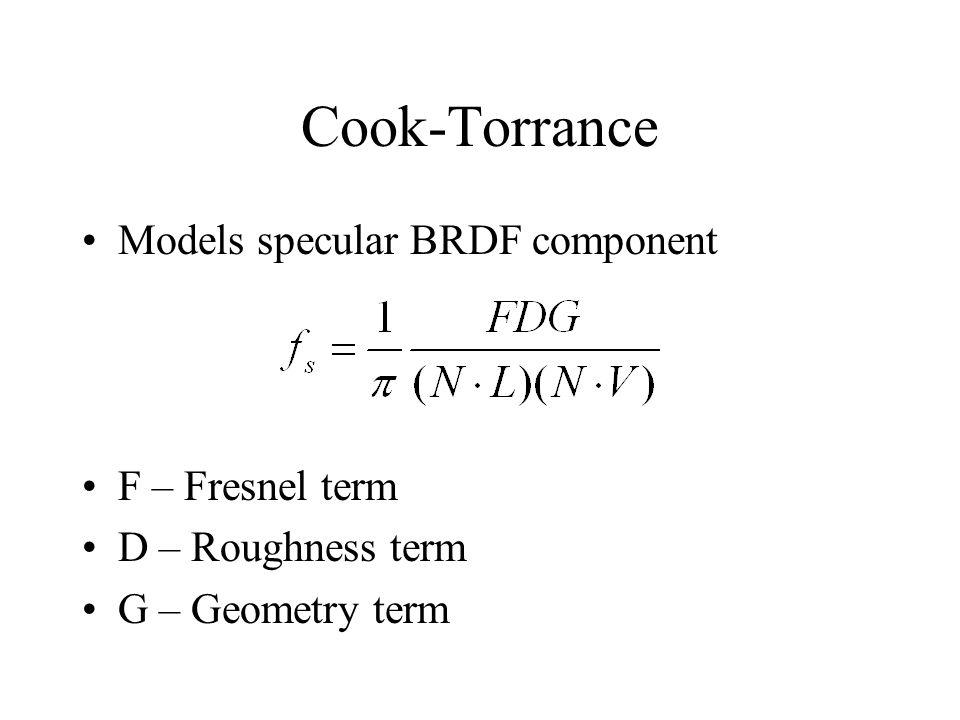 Cook-Torrance Models specular BRDF component F – Fresnel term