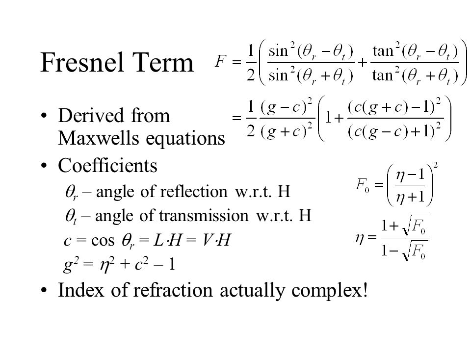 Fresnel Term Derived from Maxwells equations Coefficients
