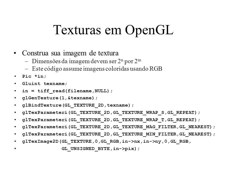 Texturas em OpenGL Construa sua imagem de textura