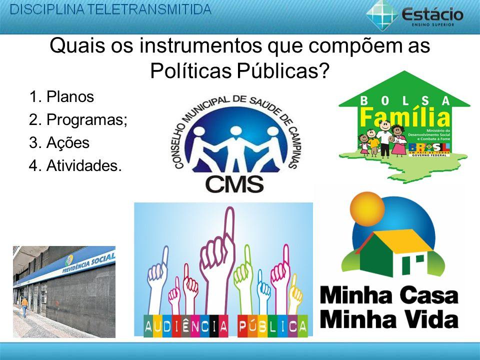 Quais os instrumentos que compõem as Políticas Públicas