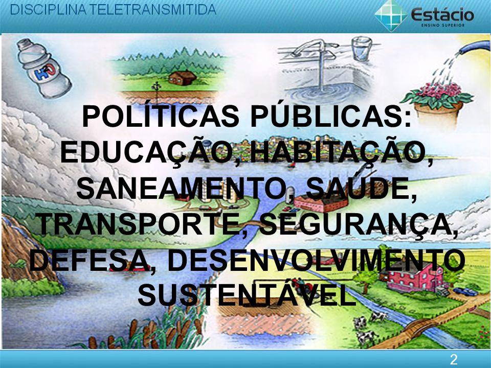 POLÍTICAS PÚBLICAS: EDUCAÇÃO, HABITAÇÃO, SANEAMENTO, SAÚDE, TRANSPORTE, SEGURANÇA, DEFESA, DESENVOLVIMENTO SUSTENTÁVEL