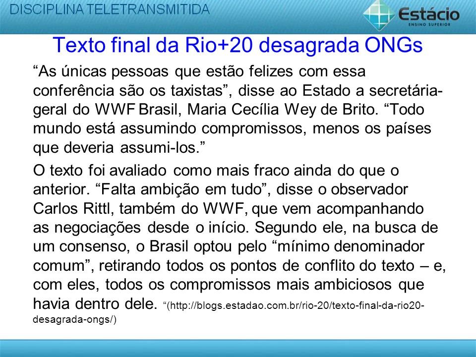 Texto final da Rio+20 desagrada ONGs