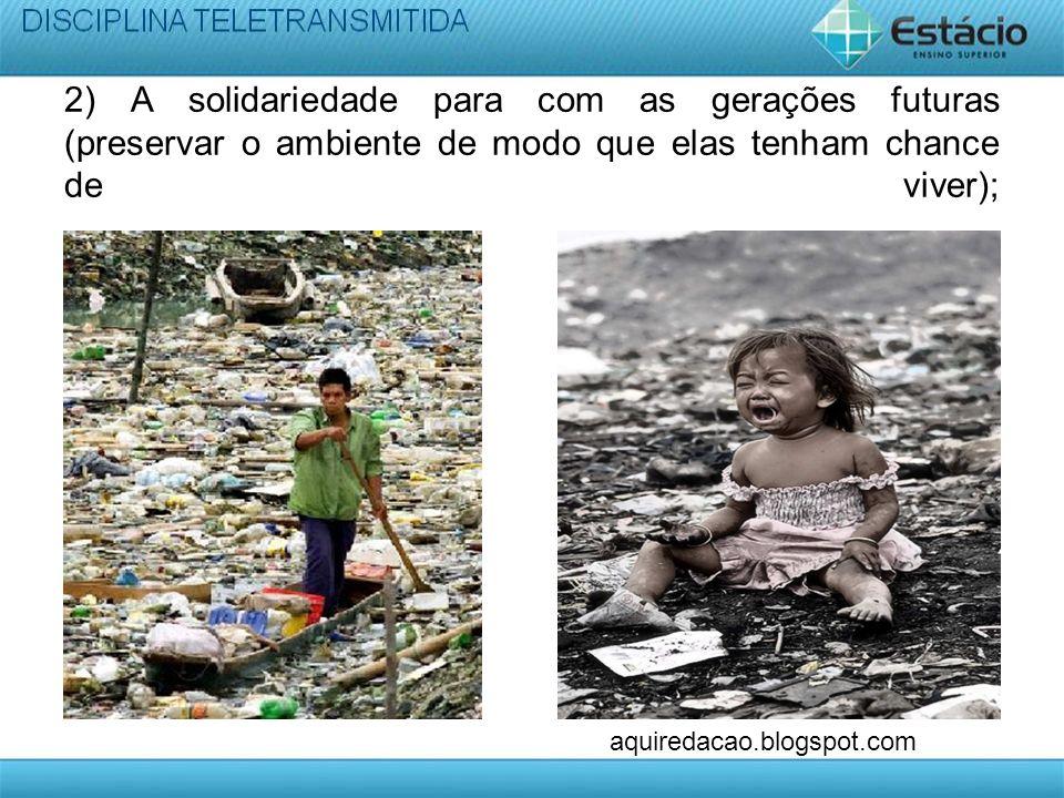 2) A solidariedade para com as gerações futuras (preservar o ambiente de modo que elas tenham chance de viver);