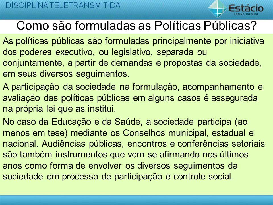 Como são formuladas as Políticas Públicas
