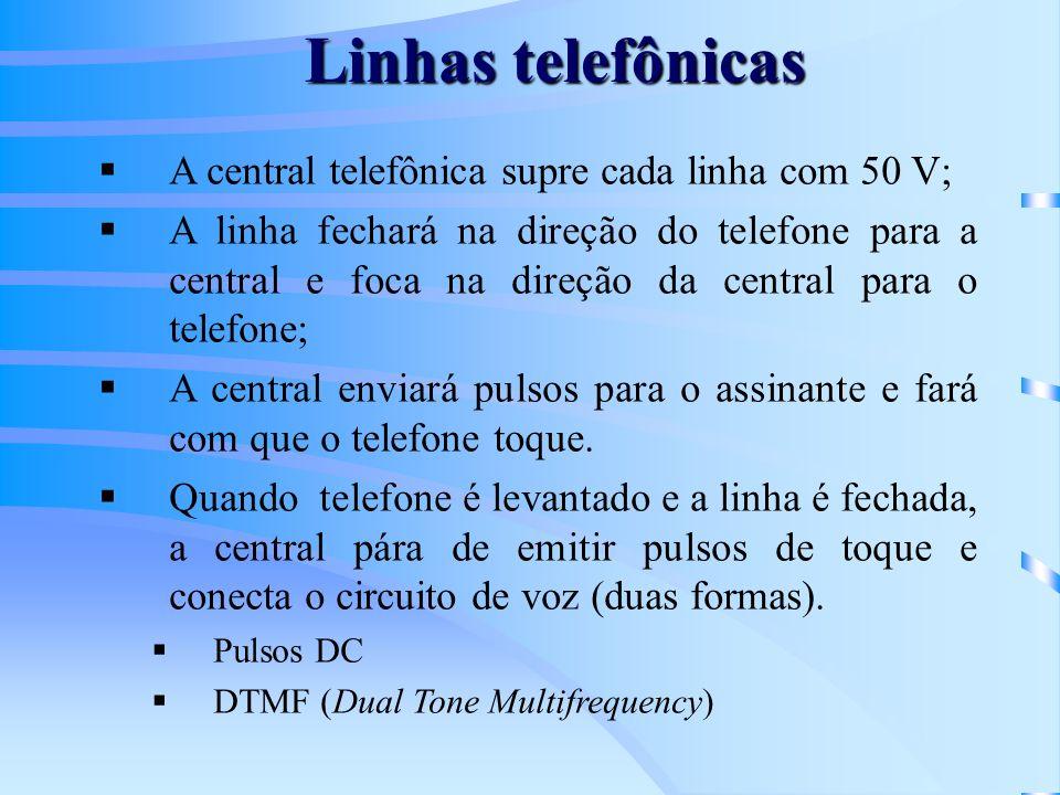 Linhas telefônicas A central telefônica supre cada linha com 50 V;