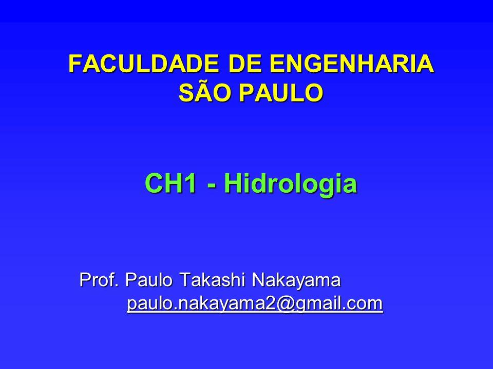 FACULDADE DE ENGENHARIA SÃO PAULO CH1 - Hidrologia