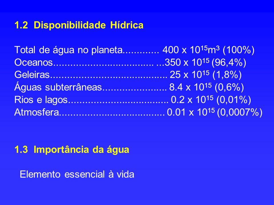 1. 2 Disponibilidade Hídrica Total de água no planeta