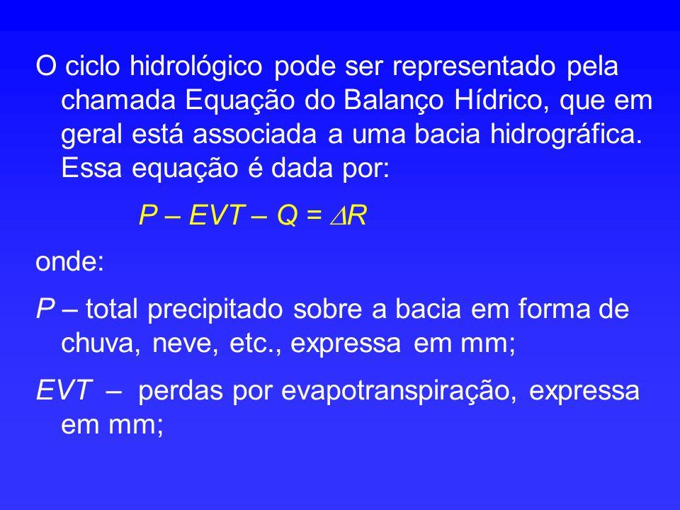 O ciclo hidrológico pode ser representado pela chamada Equação do Balanço Hídrico, que em geral está associada a uma bacia hidrográfica. Essa equação é dada por: