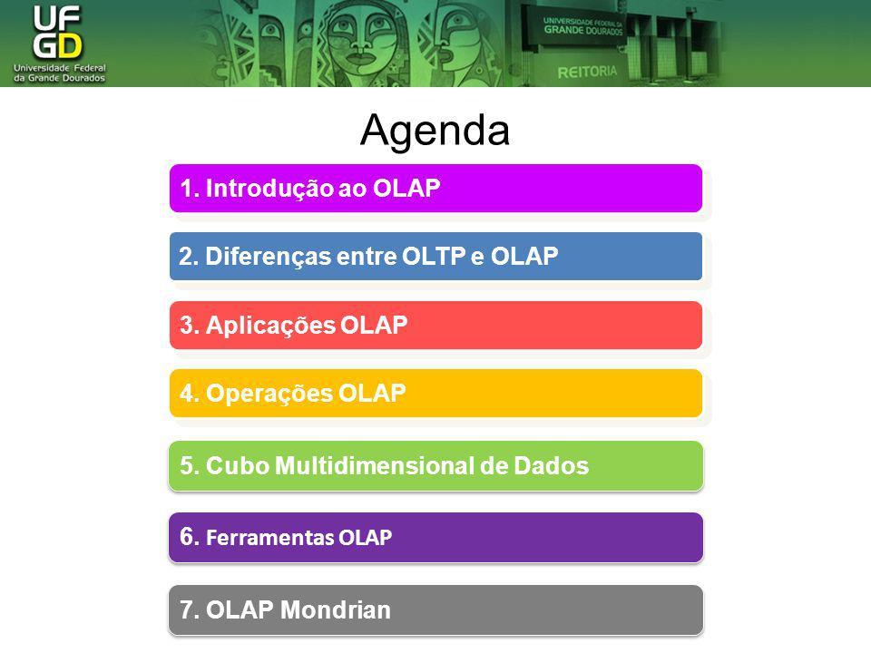 Agenda 1. Introdução ao OLAP 2. Diferenças entre OLTP e OLAP
