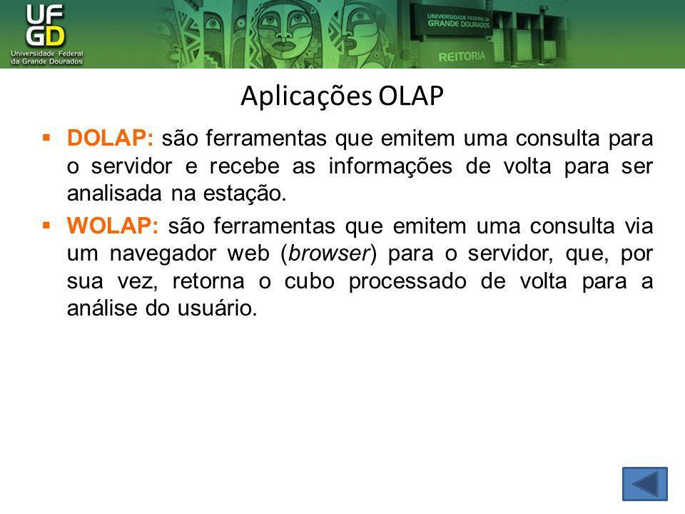 Aplicações OLAP DOLAP: são ferramentas que emitem uma consulta para o servidor e recebe as informações de volta para ser analisada na estação.