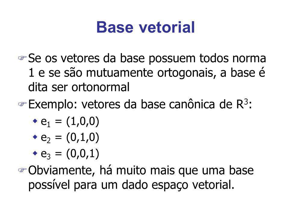 Base vetorial Se os vetores da base possuem todos norma 1 e se são mutuamente ortogonais, a base é dita ser ortonormal.