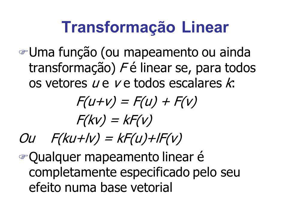 Transformação Linear Uma função (ou mapeamento ou ainda transformação) F é linear se, para todos os vetores u e v e todos escalares k: