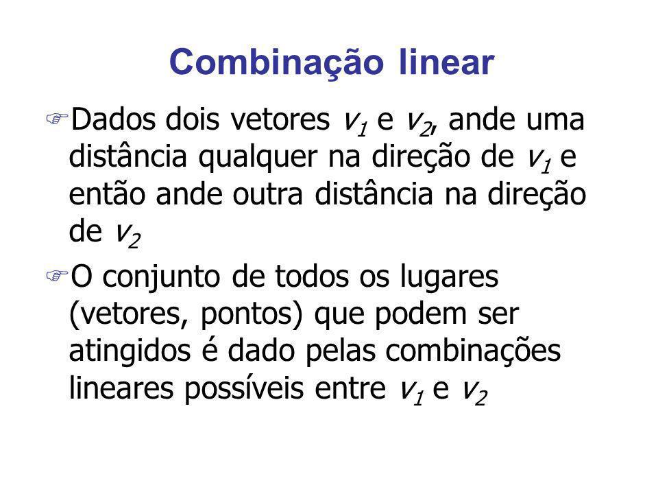 Combinação linear Dados dois vetores v1 e v2, ande uma distância qualquer na direção de v1 e então ande outra distância na direção de v2.