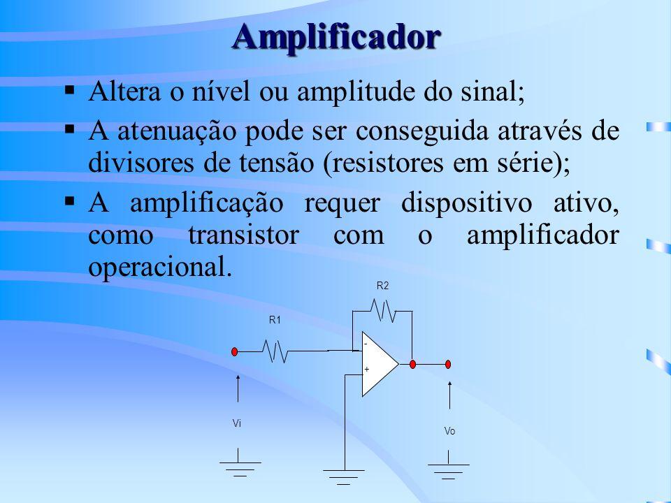 Amplificador Altera o nível ou amplitude do sinal;