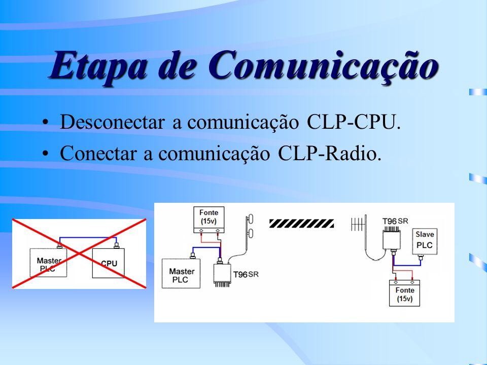 Etapa de Comunicação Desconectar a comunicação CLP-CPU.