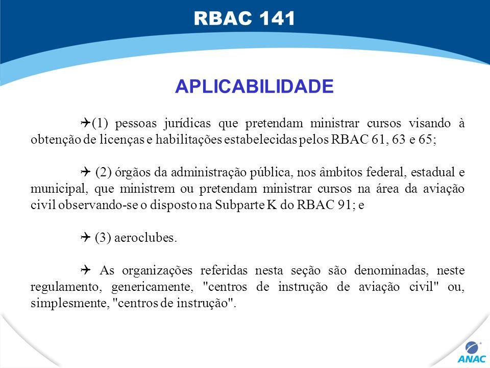 RBAC 141 APLICABILIDADE.