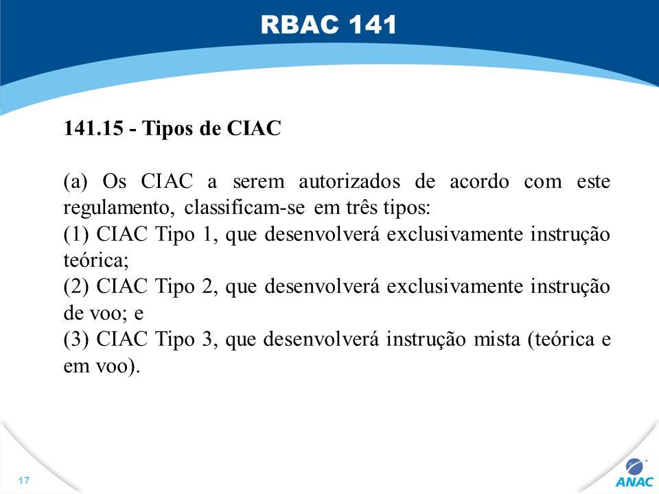 RBAC 141 141.15 - Tipos de CIAC. (a) Os CIAC a serem autorizados de acordo com este regulamento, classificam-se em três tipos: