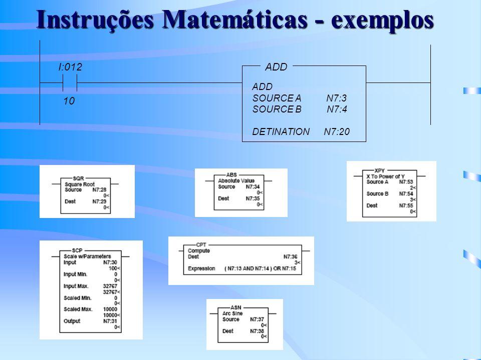 Instruções Matemáticas - exemplos
