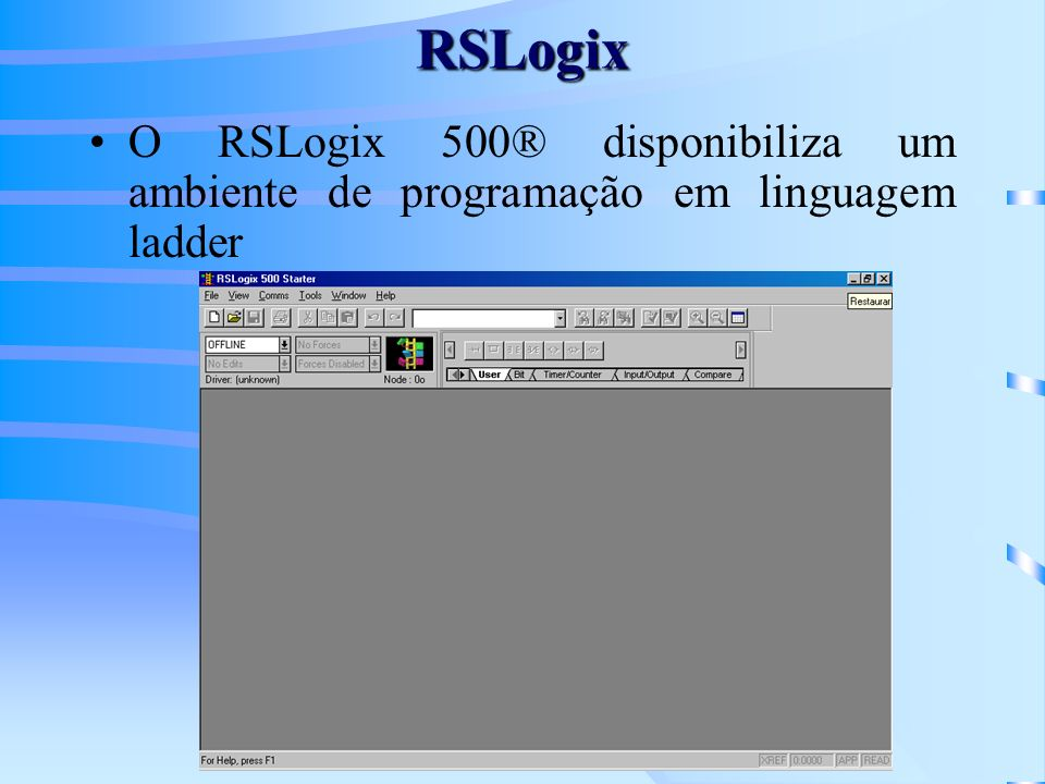 RSLogix O RSLogix 500® disponibiliza um ambiente de programação em linguagem ladder
