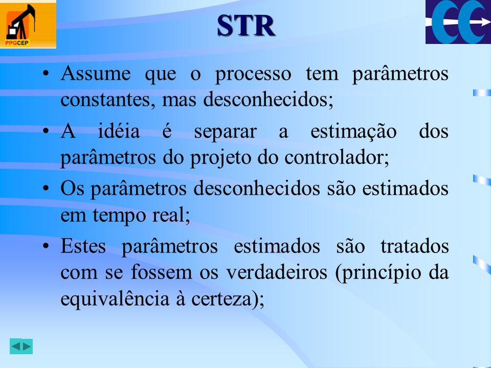 STRAssume que o processo tem parâmetros constantes, mas desconhecidos; A idéia é separar a estimação dos parâmetros do projeto do controlador;