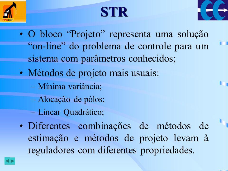 STR O bloco Projeto representa uma solução on-line do problema de controle para um sistema com parâmetros conhecidos;