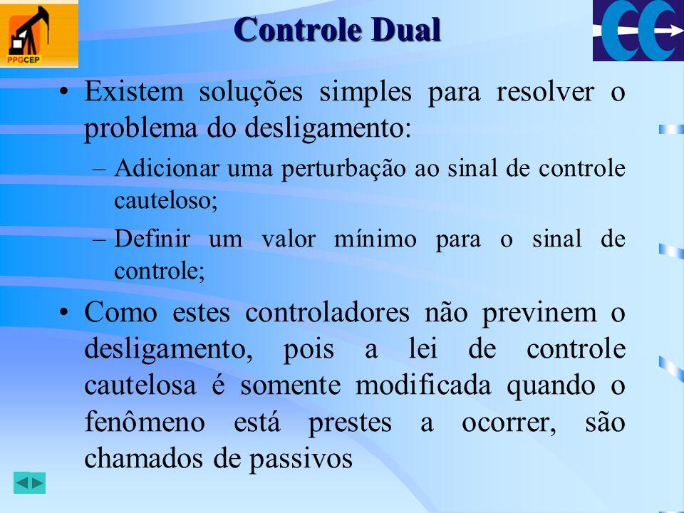 Controle Dual Existem soluções simples para resolver o problema do desligamento: Adicionar uma perturbação ao sinal de controle cauteloso;