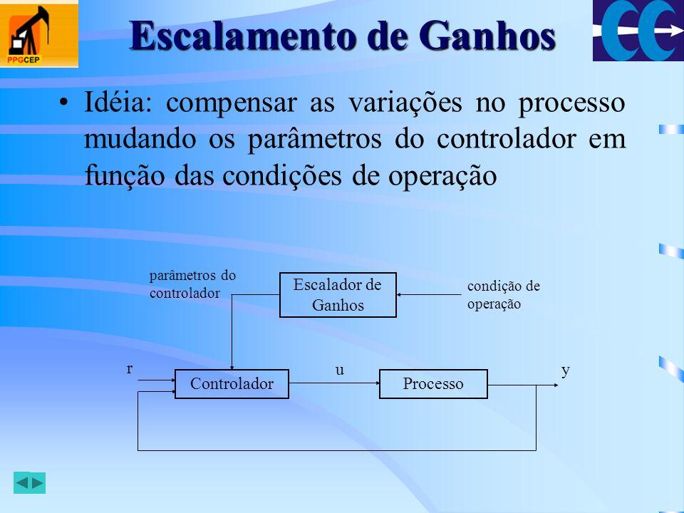 Escalamento de Ganhos Idéia: compensar as variações no processo mudando os parâmetros do controlador em função das condições de operação.