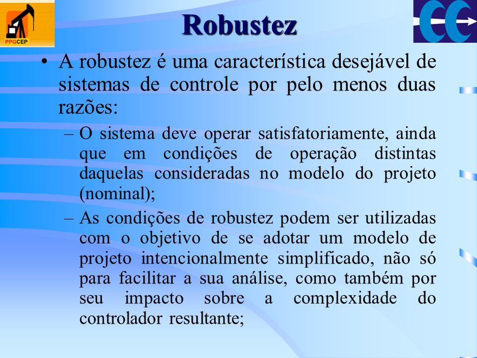 Robustez A robustez é uma característica desejável de sistemas de controle por pelo menos duas razões: