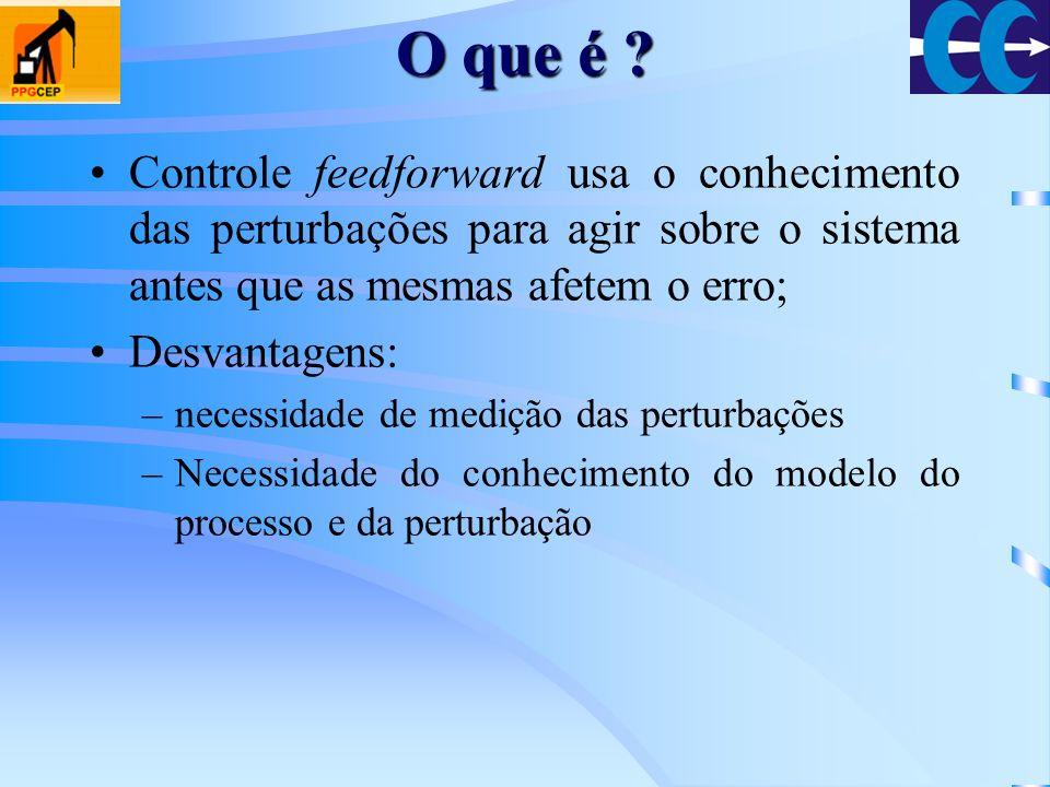 O que é Controle feedforward usa o conhecimento das perturbações para agir sobre o sistema antes que as mesmas afetem o erro;