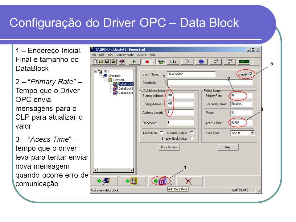 Configuração do Driver OPC – Data Block
